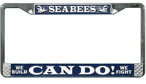 US-NAVY-SEABEES-HIGH-QUALITY-METAL-LICENSE-PLATE-FRAME-MADE-IN-THE-USA