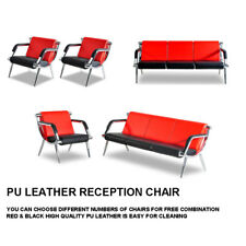 Waiting Room Chair Office Reception Pu Leather Airport Guest Sofa Seat Redampblack