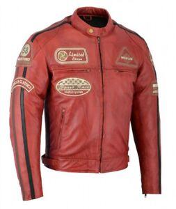 Blouson En Cuir Moto Homme, Rouge Vintage, Cafe Racer, Lederjacke, Retro, Rocker