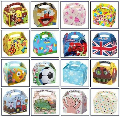 8 x Childrens/Kids Themed Carry Food Meal Box Birthday Party Loot Bag Boxes