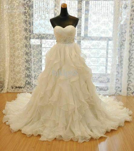 White Ivory Wedding Dresses Ruffles Bridal Beaded Belt Gown Long Train 6 8 10 12