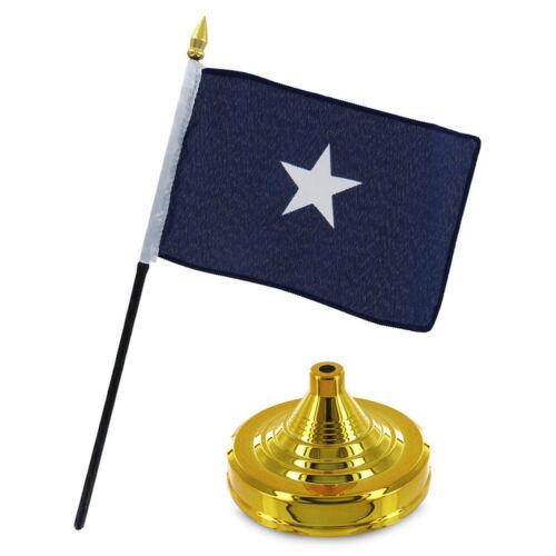 "Bonnie Blue Historical 4/""x6/"" Flag Desk Set Table Stick Staff Gold Base"