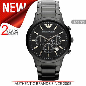 Emporio-Armani-Classic-Men-039-s-Watch-AR2453-Chronograph-Dial-Black-Stainless-Steel