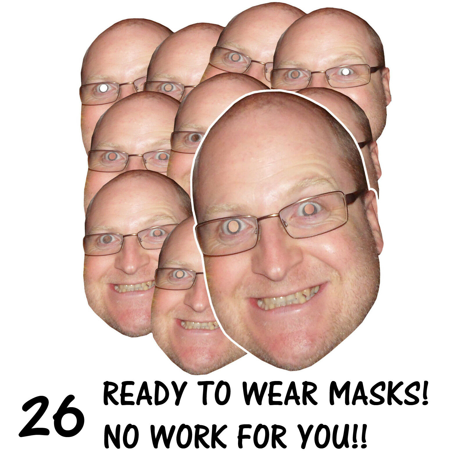 26 x PERSONALISED FUN FACE MASKS - STAG HEN PARTY - SEND US YOUR PIC - FREE P&P