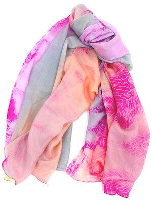 Morgan & Oates Ladies 100% Silk Pink Peach & Grey Womens Scarf Shawl Pashmina