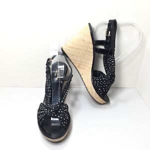 2c3a0ad343f8d Details about Women s Kate Spade New York Black White Polka Dot Wedges  Sandals Size 7.5 M