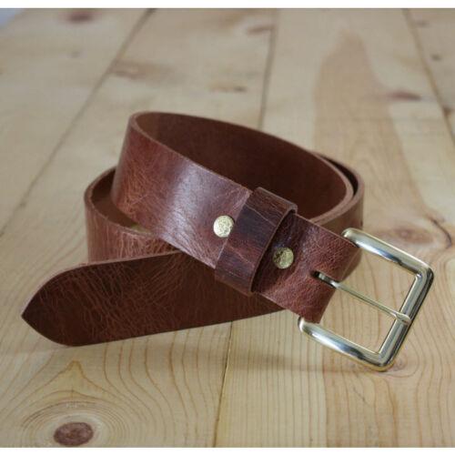 "Handmade Genuine Buffalo Leather Belt/_Men/'s Belt/_1.25/"" /& 1.5/""/_ANTIQUE BROWN"