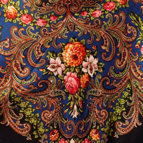 Russian Style Pavlovo Posad Vintage Wool Shawl Blue Shabby Chic Silk Fringe 115