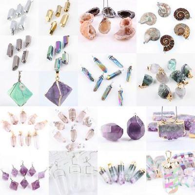 Freeform Natural Drusy Quartz Fluorite Amethyst Crystal Stone Gemstone Pendant