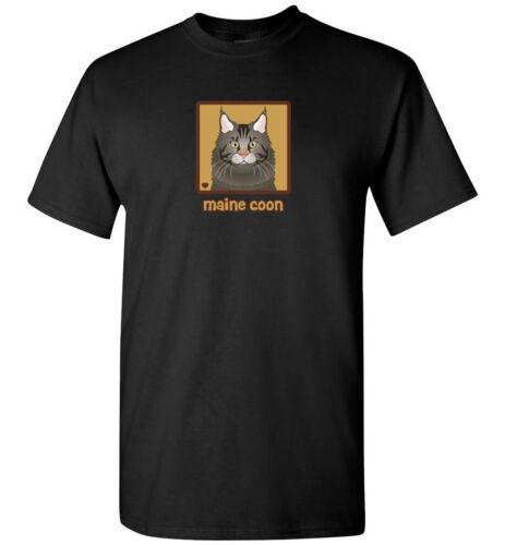 Maine Coon Cat Cartoon T-Shirt Tee Men Women Youth Tank Short Long Dark Tabby