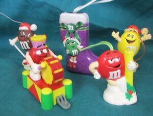 5 Vintage M & M Christmas Ornaments Stocking Opens To Hold ...