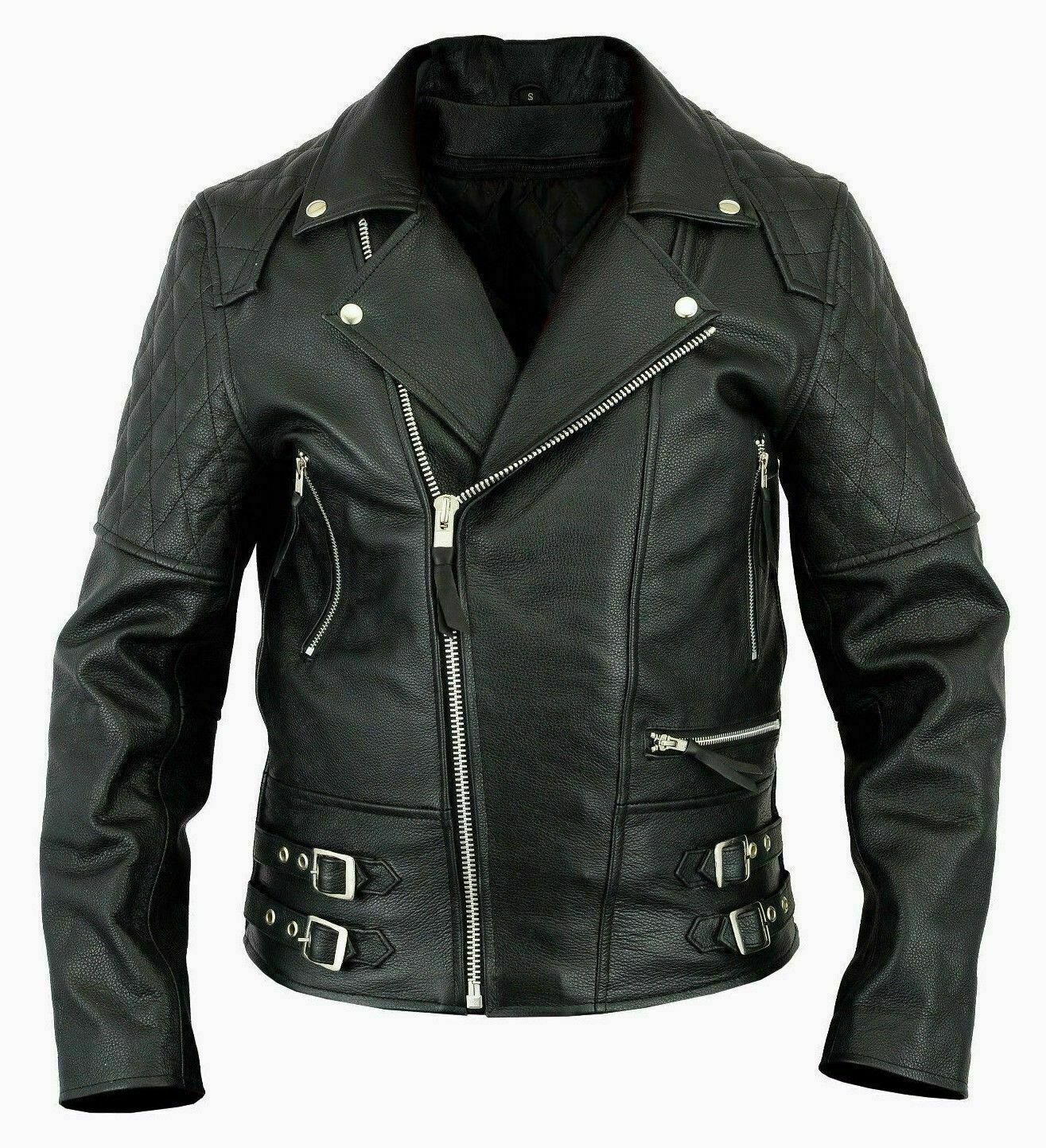 Mens style cafe racer leather jacket Men black leather
