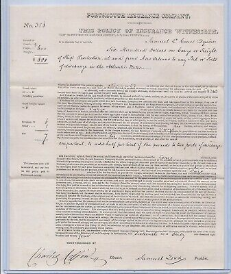 """1824 The Portsmouth Insurance Company Policy For Ship """"resolution"""" Banking & Insurance"""