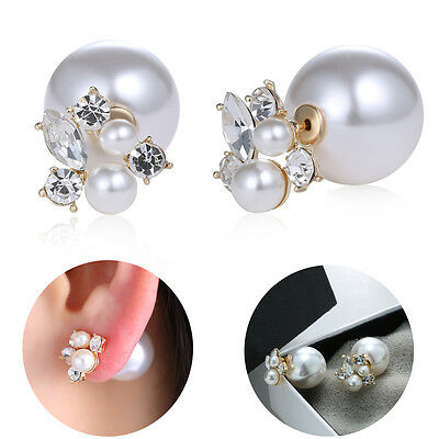 1pair Fashion Trendy Double Sides Pearl Earring Two Ball Stud Earrings Crystal