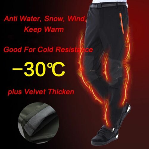 Pants Men Thermal Hiking Ski Outdoor Winter Sports Fleece Warm Thick Trousers