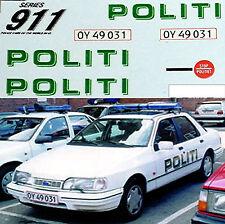 Ford Sierra 2.0 Politi Denmark 1992 Urban Police Polizei Cars 1:43 Decal Abziehb