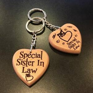 Image Is Loading Personalised Engraved Wooden Keyring Keychain Sister In Law