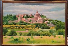 PITTURA AD OLIO GRANDE BELLISSIMO giustiziato ITALIANO Firmato & Datato Toscana Paesaggio