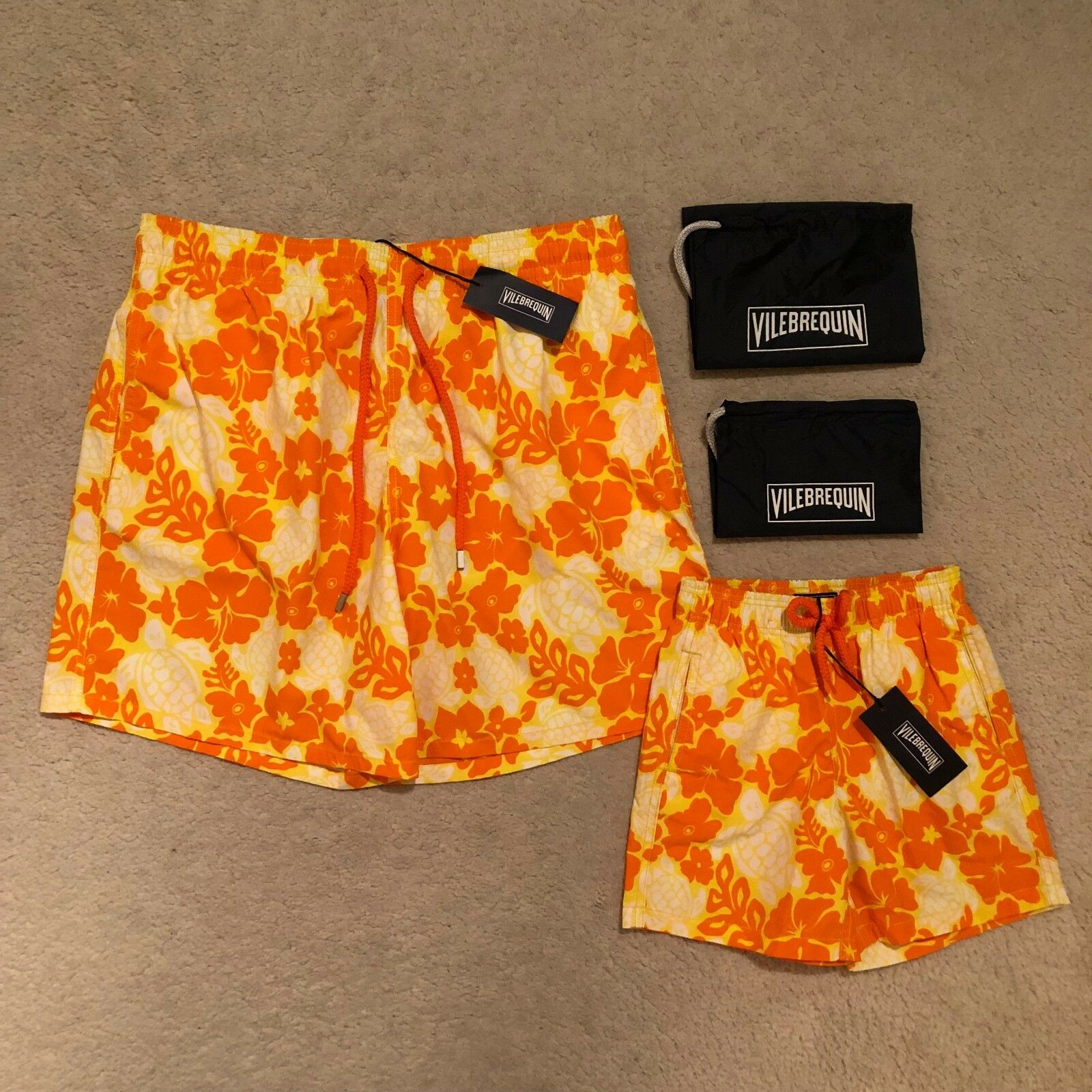 Vilebrequin Father And Son Moorea Hawaiian Turtle Swim Shorts RRP  .00