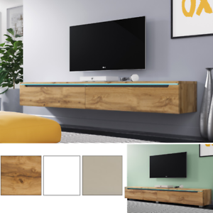 tv lowboard swift in wei beige wotan eiche stehend oder h ngend mit led 180 cm ebay. Black Bedroom Furniture Sets. Home Design Ideas