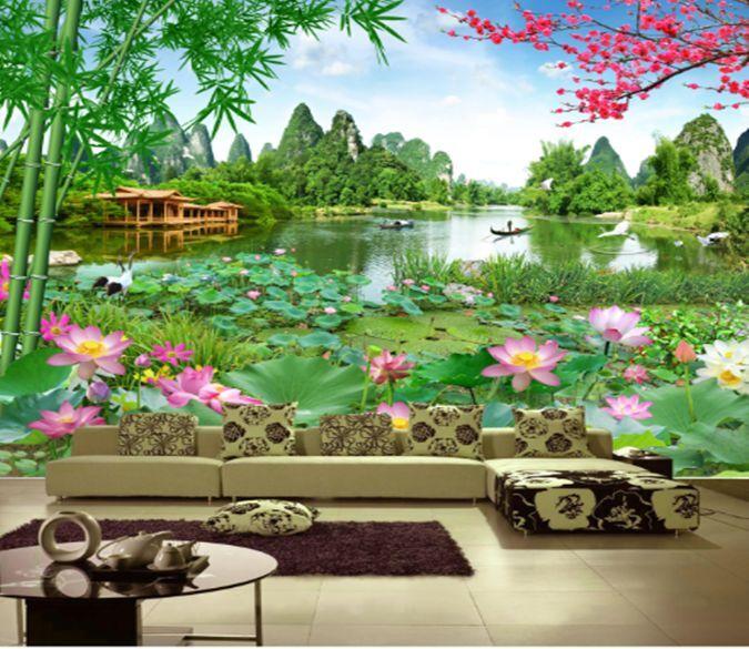 3D Teich, Lotus 14 Fototapeten Wandbild Fototapete BildTapete Familie DE