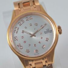 New Mens Marvin Spiraling Silver Dial Bracelet Swiss Made Rose Gold Tone Watch