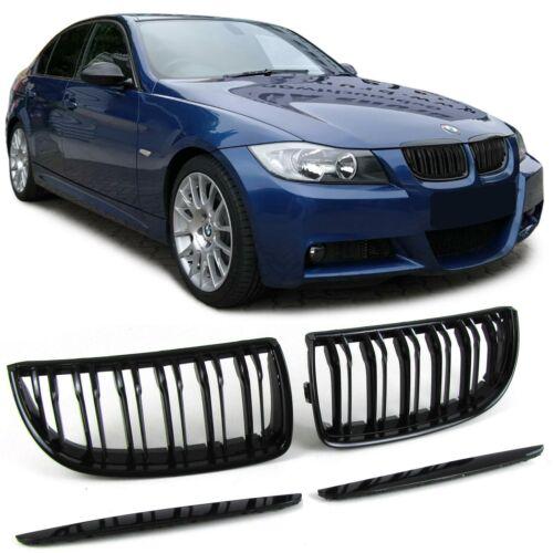 Sport Calandre rénale doppelsteg Noir Brillant Pour BMW 3er e90 e91 05-08