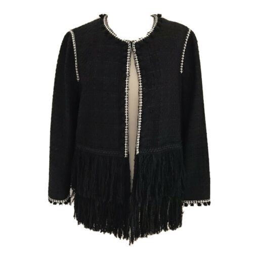 Zara Women Blaack Boucle Jacket Fringe Crop Jacket