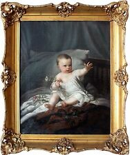 European 19th Century Oil Painting Baby Sitting on Bed with Antique Wood Frame