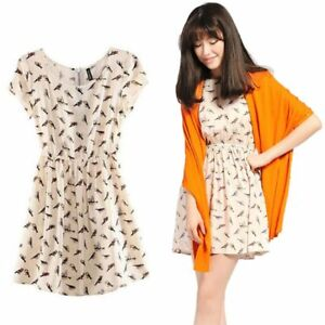 1-x-Big-Size-Round-Neck-Bird-Printing-Short-Sleeved-Dress-With-a-Defined-Waist