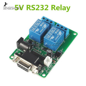 RS232-DB9-Serial-Control-Relay-5V-2-Channel-Switch-Board-SCM-PC-Relays