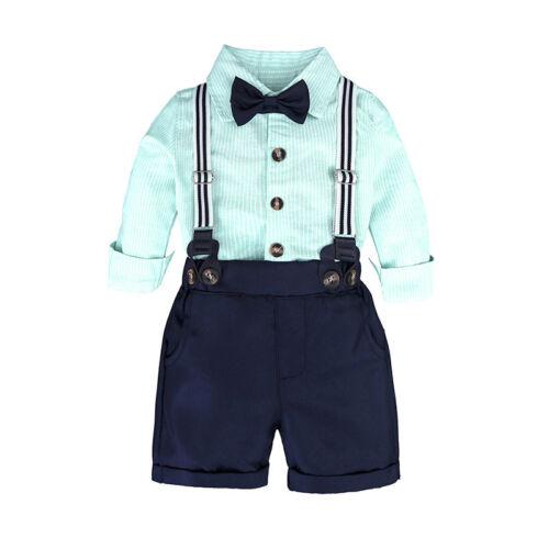 Baby Jungen Fliege Hemd Kurze Hose Latzhose Party Kleidung Formal Kostüm Sets