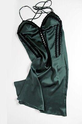 100% Silk Lace Green Slip Nightdress Sexy Babydoll Sottoveste Verde Seta Pizzo Facile E Semplice Da Gestire