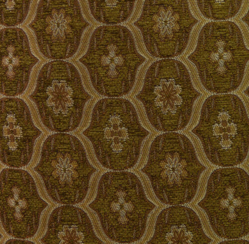 we62t Lt Brown Lt Gold Lt.Olive Damask Thick Cotton 3D Box Seat Cushion Cover