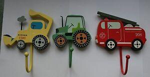 FidèLe Enfants Chambre Crochets Feu Moteur Digger Tracteur Garçons Porte-afficher Le Titre D'origine