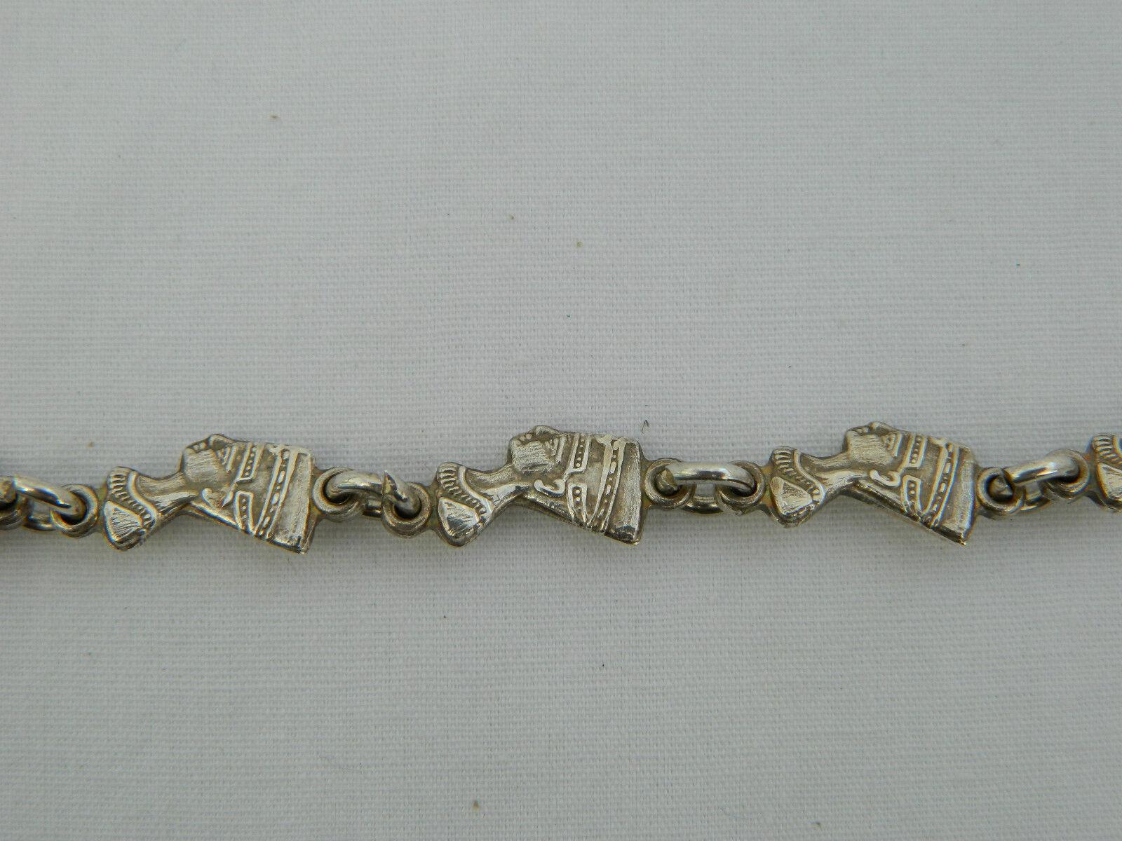 Egiziano argentoo Sterling Regina Nefertiti Ossidato Bracciale 9     lungo  218 6140d8