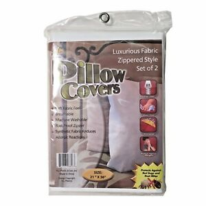 2-Pack-Zipper-Fabric-Pillow-Covers-Bed-Bug-Protector-Hypoallergenic-Size-21x36