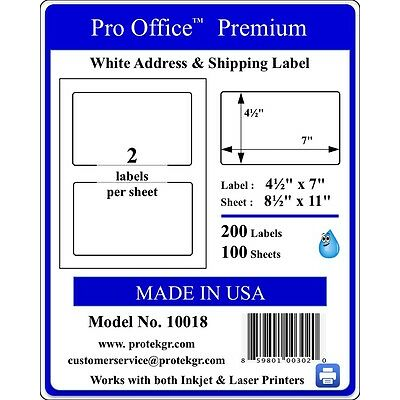 Pro Office Premium-7.0X4.5-Rounded Corner Shipping Labels-2 Per Sheet  8.5 x 11
