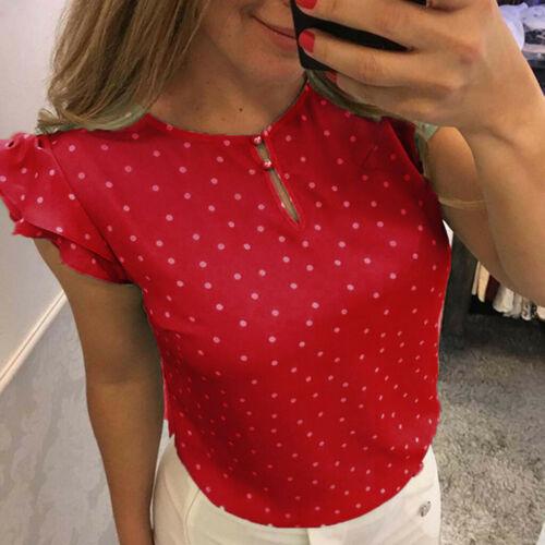 Womens Elegant Casual Dot Print Summer Blouse Sleeveless Slim Tops Retro T Shirt