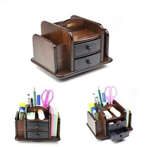 Office table desk organizer 2 plastic drawer wood pen - Over the desk organizer ...