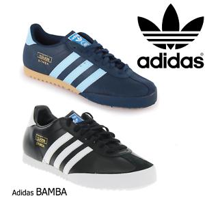 Adidas Bamba Uk9.5 D65456 Schwarz Leather Originals Weiß