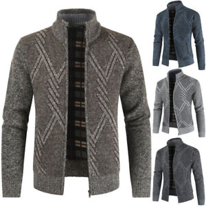 Fashion-Men-039-s-Sweater-Coat-Thickening-Warm-Zipper-Cardigan-Long-Sleeve-Outerwear