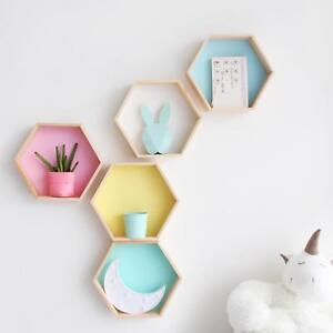 Details About Wooden Shelf Nursery Kids Room Pink White Nordic Style Honeycomb Shelves Decor