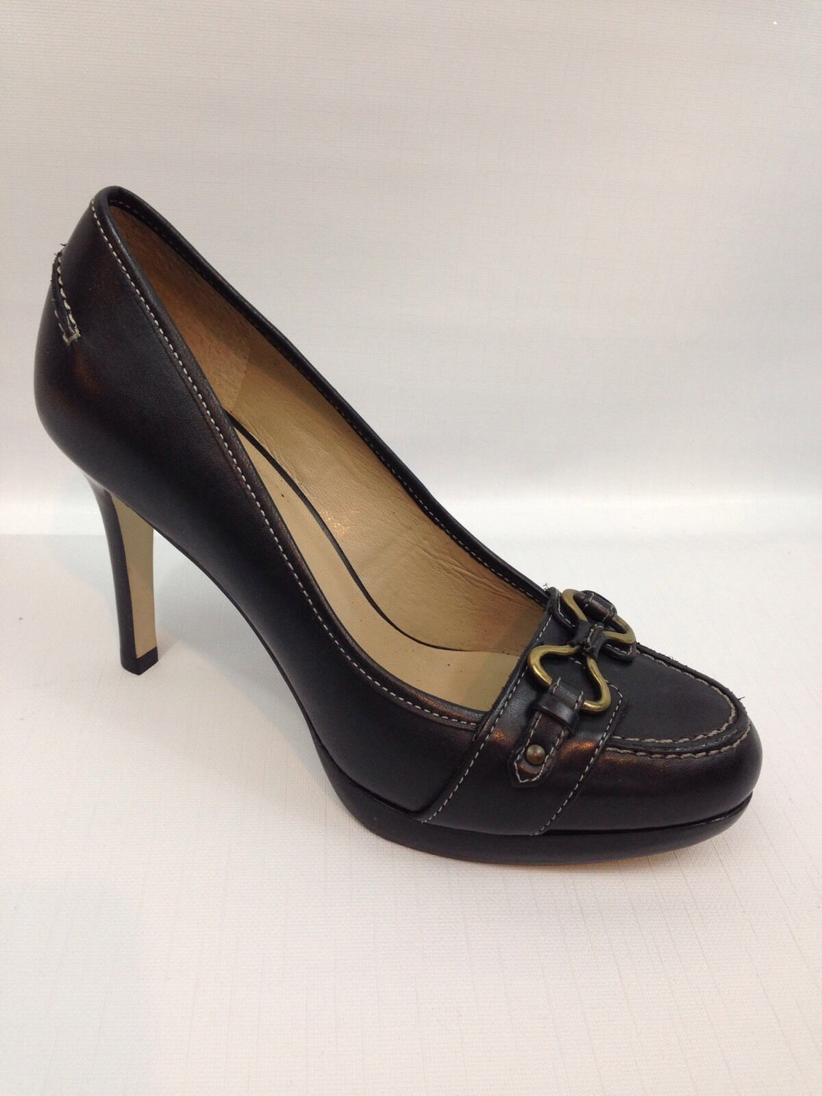Women's Talbots Black Leather High Heel Pumps w Buckle Accent - 5.5 B