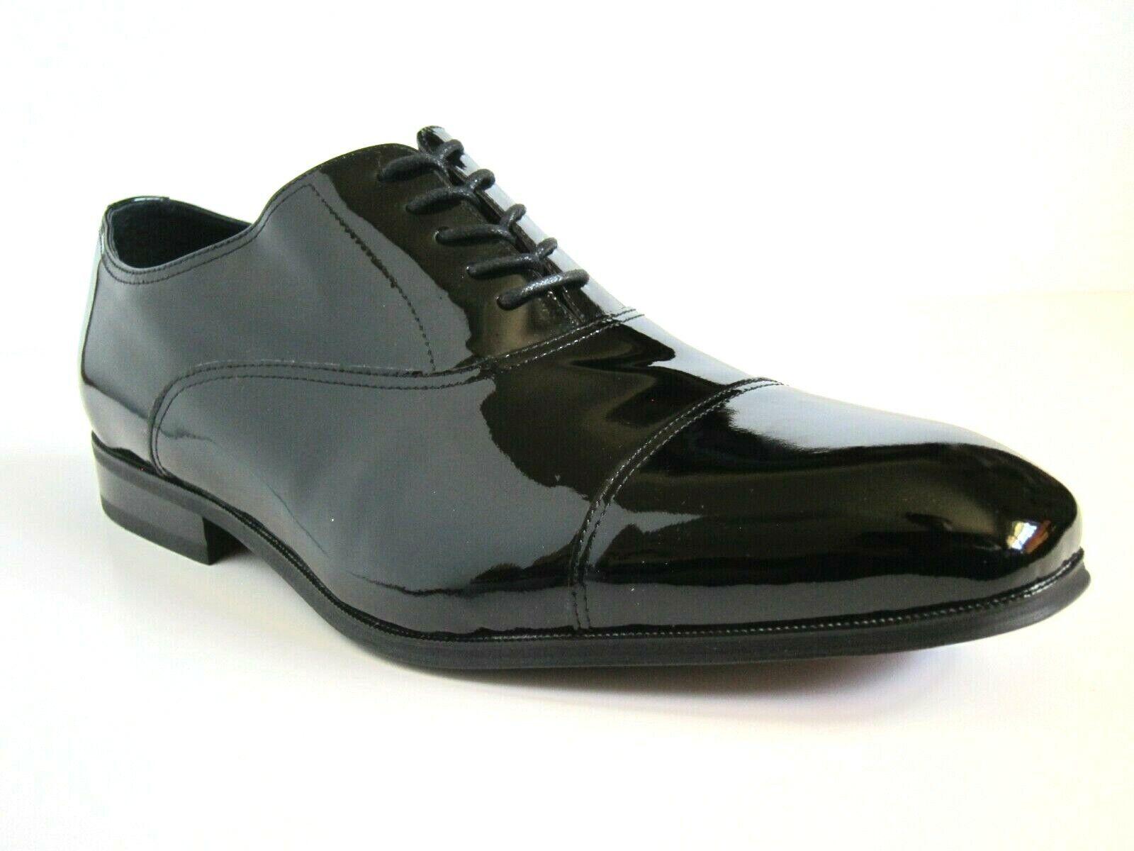 Florsheim Tux Cap Toe Noir Cuir verni Chaussures Taille 14 3E 14EEE