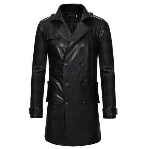 Men/'s Leather Jacket Military Overcoat Trench Coat Double Breasted Lapel