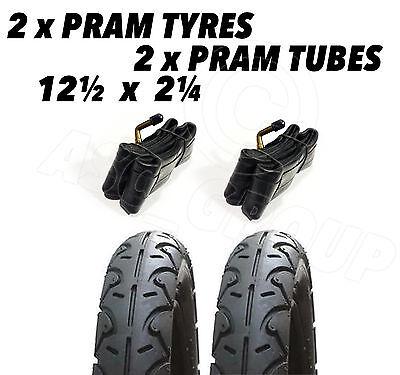 2x Pram Tyres & 2x Tubes 12 1/2 X 2 1/4 Slick Babytrend Icandy Apple Maclaren
