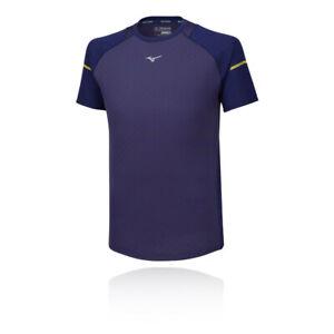 MIZUNO-Da-Uomo-Alpha-Running-T-Shirt-Tee-Top-Navy-Blu-Sport-Traspirante