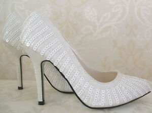 SIZE 2 2.5 3 5 WHITE IVORY SEQUIN SPARKLY SHIMMER HIGH HEEL PARTY ... 798ec2251b5f