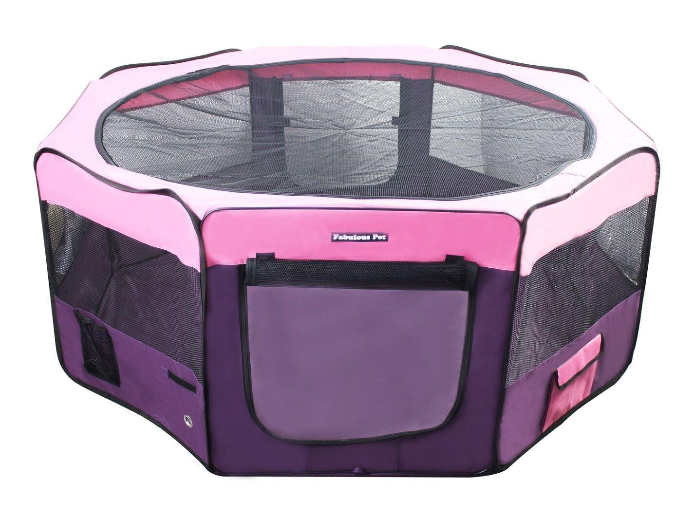 45  Portable Puppy Pet Dog Soft Tent Playpen Folding Crate Pen New - rosa viola